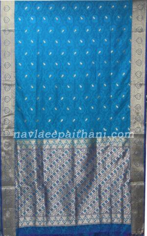 the light blue color with purple border in pochampally silk saree