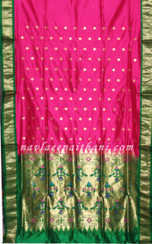 Rani Pink with Green contrast boarder in paithani silk saree.