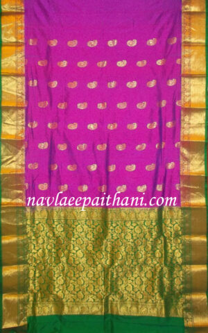 Magenta colour with Golden Green Contrast Boarder in Kanchi Silk Saree.