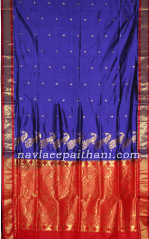 The Dark Purple color with contrast Red border in paithani silk saree.
