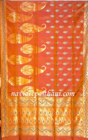 The rust colour with self zari boarder in Uppada silk saree.