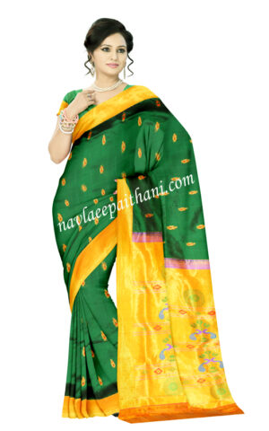 Green color with yellow jari contrast Boarder in Paithani Silk Saree.