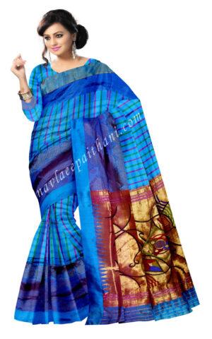 The sky blue Color with Akruti design tissu Contrast Border in designer Paithani Silk saree.