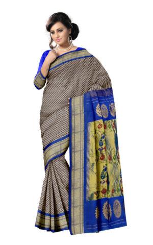 dark purple broked with contrast blue colour paithani silk saree.