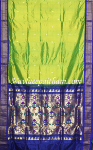 Florocent Green With Blue Contrast Border in Paithani Silk Saree