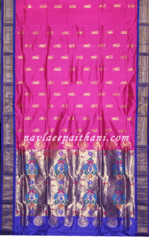 The Pink color with Blue contrast boarder in paithani silk saree.