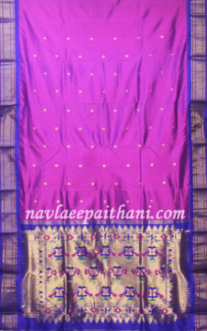 Magenta colour with Blue contrast boarder in Paithani silk saree.