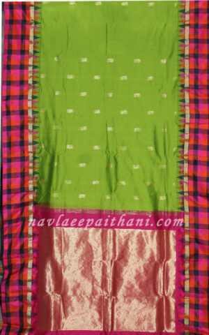 Florocent Green Color with Multi colored Tempal Chex boarder in Erkal Silk Saree.