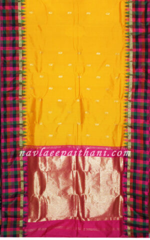 Mango yellow Color with Multi coloured Tempal Chex boarder in Erkal Silk Saree.