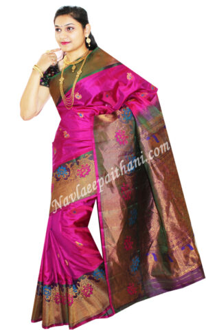 Rani Pink colour with contrast boarder in gadwal silk saree.