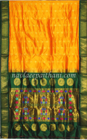 The Yellow with green contrast boarder in maharani paithani silk saree.