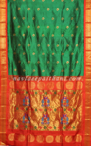 The Green color with Red Color boarder in Maharani Paithani Silk saree.