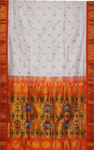 The White colored with Orange contrast boarder in Maharani paithani silk saree.
