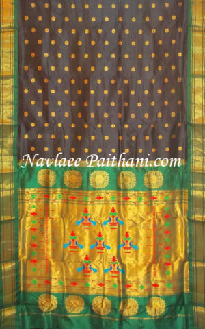 The Black Color with Green contrast Boarder in Maharani Paithani Silk saree.