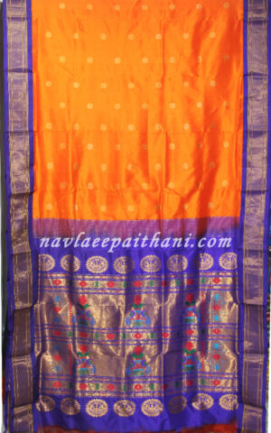 The Orange color with Blue contrast boarder in paithani silk saree.