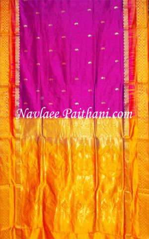 The Pink Colored With Orange Contrast border In kalanjali silk Saree.