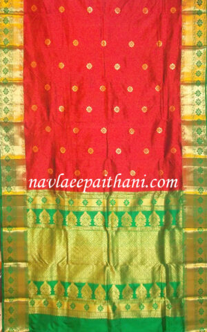 The Red color with Purple contrast border in Maurai Silk saree123