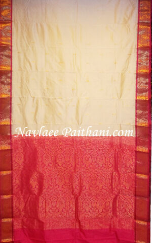 The White color With Rani Pink Contrast Double Boarder in KANJIVARAM Silk Saree.