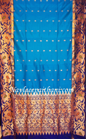 The peacock blue colour with dark blue boarder in lotus silk saree.