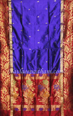 Dark Purple with red Lotus boarder in lotus paithani.