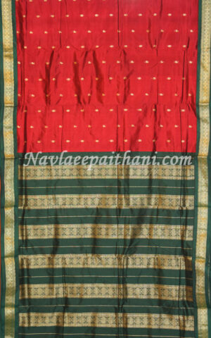The Maroon Color with contrast Green boarder in nauvari (Nine Yard) Gadwal silk saree.