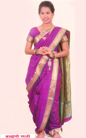 THE DARK PURPLE Color with green Color Contrast Boarder in stitched nauwari nine yard art silk Paithani saree.