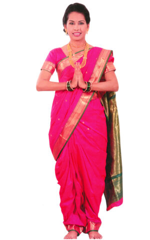 The rani pink with green contrast Boarder in nauwari stitched Paithani Art Silk Saree.