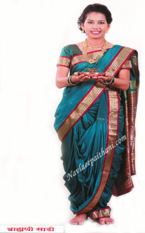 THE Metalic Blue with Maroon contrast Boarder in Nuvari readymade stitched saree.