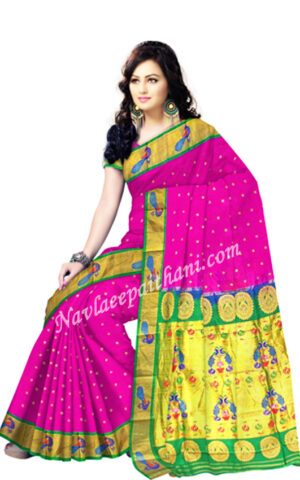 Rani Magenta color with Peacock Green Boarder In Paithani Silk Saree.