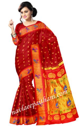 Maroon colour peacock boarder in paithani silk saree.