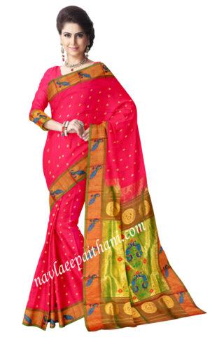 Shoking pink color with peacock zari border in paithani silk saree.
