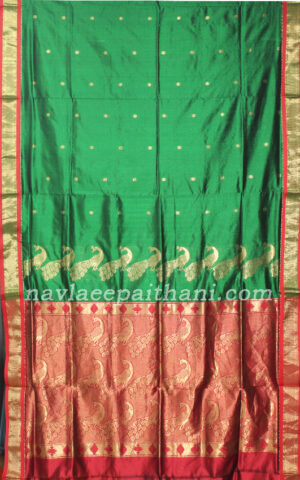 The Green colour with contrast Red boarder in paithani silk saree.