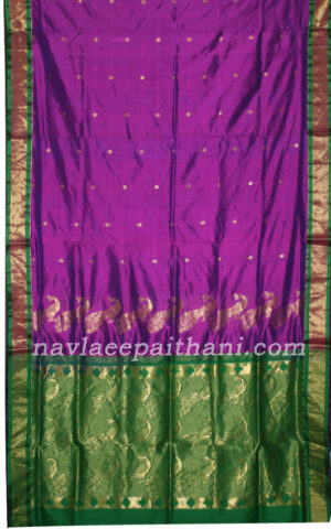The Magenta color with contrast Red boarder in paithani silk saree