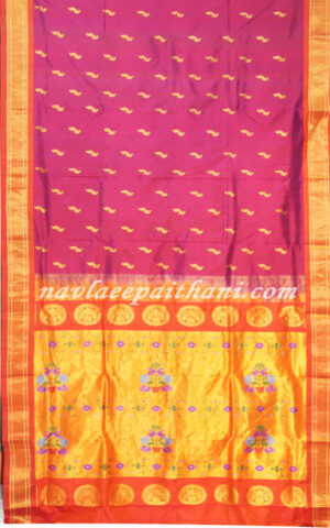 The Wine color with Orange contrast boarder in Maharani Paithani Silk Saree.