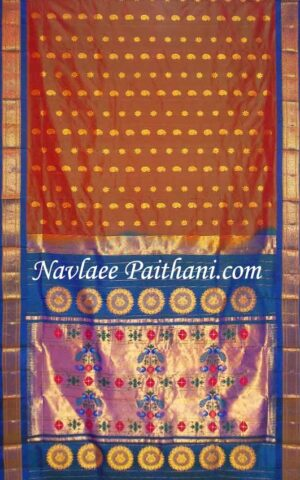 Golden Brown Color With Blue Contrast Border in Maharani Paithani Silk Saree