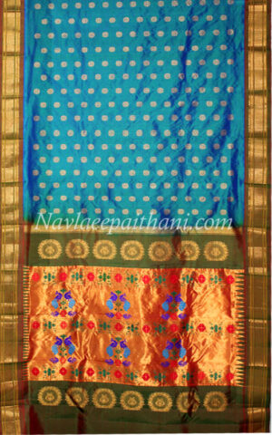 Blue with Rust colour boarder in Maharani Paithani Silk Saree.
