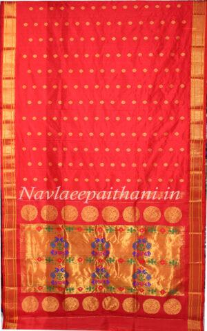 Red colour with slef colour boarder in Maharani Paithani Silk Saree.