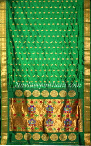 Green colour with self green contrast boarder in Maharani paithani silk saree
